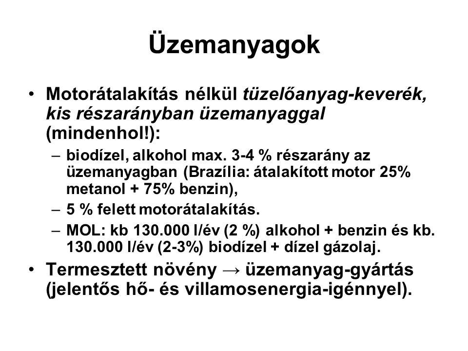 Üzemanyagok Motorátalakítás nélkül tüzelőanyag-keverék, kis részarányban üzemanyaggal (mindenhol!): –biodízel, alkohol max. 3-4 % részarány az üzemany