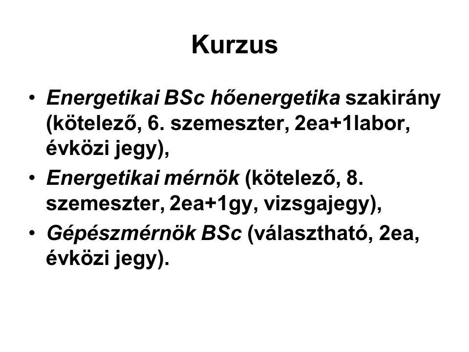 Kurzus Energetikai BSc hőenergetika szakirány (kötelező, 6. szemeszter, 2ea+1labor, évközi jegy), Energetikai mérnök (kötelező, 8. szemeszter, 2ea+1gy