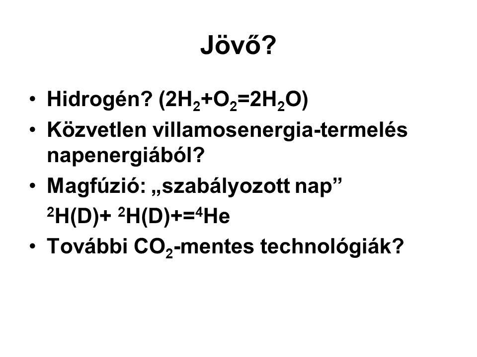 """Jövő? Hidrogén? (2H 2 +O 2 =2H 2 O) Közvetlen villamosenergia-termelés napenergiából? Magfúzió: """"szabályozott nap"""" 2 H(D)+ 2 H(D)+= 4 He További CO 2"""