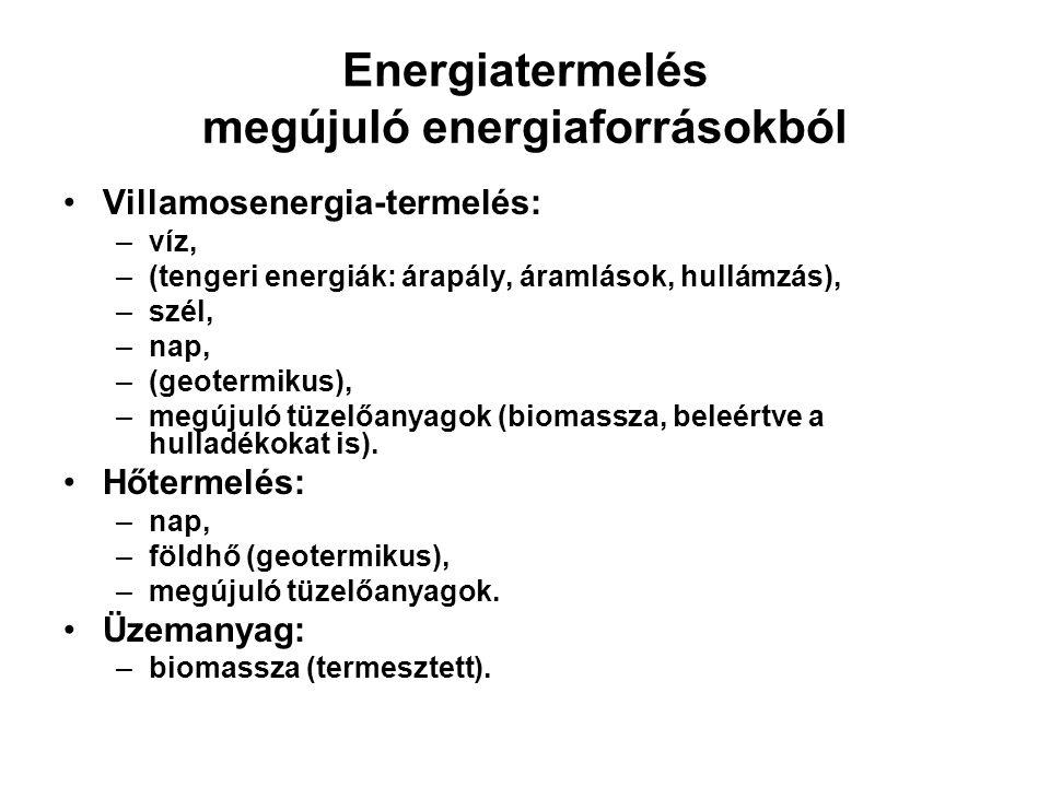 Energiatermelés megújuló energiaforrásokból Villamosenergia-termelés: –víz, –(tengeri energiák: árapály, áramlások, hullámzás), –szél, –nap, –(geoterm