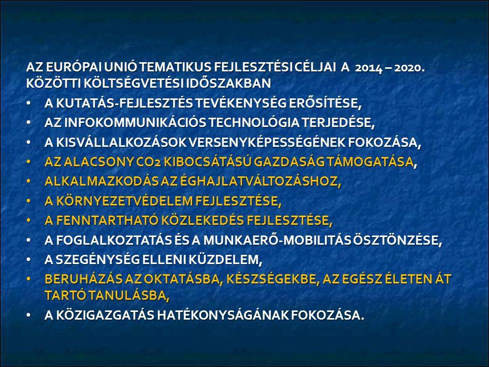 AZ EURÓPAI UNIÓ TEMATIKUS FEJLESZTÉSI CÉLJAI A 2014 – 2020.