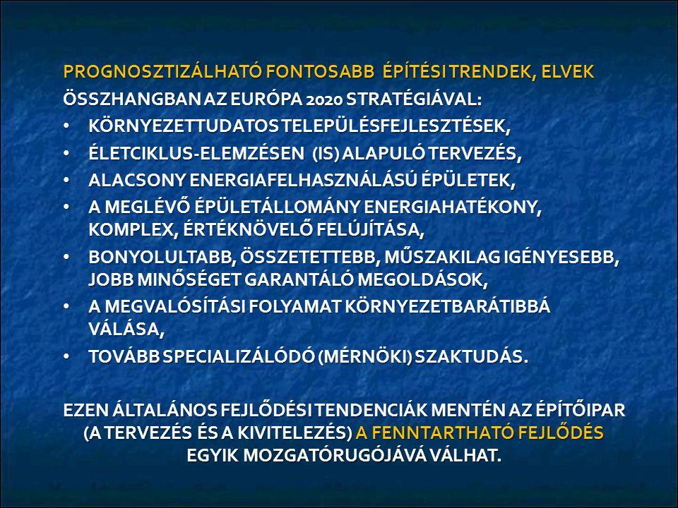 PROGNOSZTIZÁLHATÓ FONTOSABB ÉPÍTÉSI TRENDEK, ELVEK ÖSSZHANGBAN AZ EURÓPA 2020 STRATÉGIÁVAL: KÖRNYEZETTUDATOS TELEPÜLÉSFEJLESZTÉSEK, KÖRNYEZETTUDATOS TELEPÜLÉSFEJLESZTÉSEK, ÉLETCIKLUS-ELEMZÉSEN (IS) ALAPULÓ TERVEZÉS, ÉLETCIKLUS-ELEMZÉSEN (IS) ALAPULÓ TERVEZÉS, ALACSONY ENERGIAFELHASZNÁLÁSÚ ÉPÜLETEK, ALACSONY ENERGIAFELHASZNÁLÁSÚ ÉPÜLETEK, A MEGLÉVŐ ÉPÜLETÁLLOMÁNY ENERGIAHATÉKONY, KOMPLEX, ÉRTÉKNÖVELŐ FELÚJÍTÁSA, A MEGLÉVŐ ÉPÜLETÁLLOMÁNY ENERGIAHATÉKONY, KOMPLEX, ÉRTÉKNÖVELŐ FELÚJÍTÁSA, BONYOLULTABB, ÖSSZETETTEBB, MŰSZAKILAG IGÉNYESEBB, JOBB MINŐSÉGET GARANTÁLÓ MEGOLDÁSOK, BONYOLULTABB, ÖSSZETETTEBB, MŰSZAKILAG IGÉNYESEBB, JOBB MINŐSÉGET GARANTÁLÓ MEGOLDÁSOK, A MEGVALÓSÍTÁSI FOLYAMAT KÖRNYEZETBARÁTIBBÁ VÁLÁSA, A MEGVALÓSÍTÁSI FOLYAMAT KÖRNYEZETBARÁTIBBÁ VÁLÁSA, TOVÁBB SPECIALIZÁLÓDÓ (MÉRNÖKI) SZAKTUDÁS.