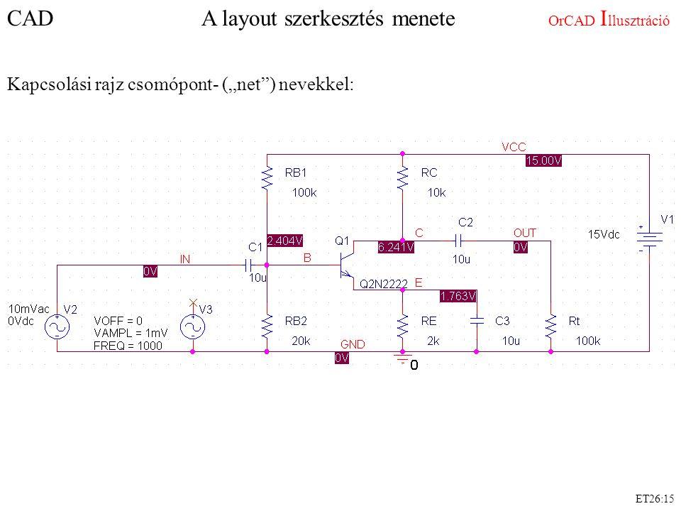 """ET26:15 CAD A layout szerkesztés menete OrCAD I llusztráció Kapcsolási rajz csomópont- (""""net ) nevekkel:"""