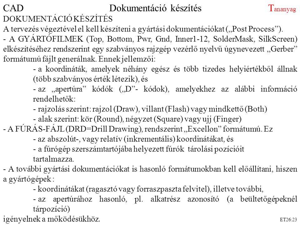 """ET26:23 CAD Dokumentáció készítés T ananyag DOKUMENTÁCIÓ KÉSZÍTÉS A tervezés végeztével el kell készíteni a gyártási dokumentációkat (""""Post Process"""")."""