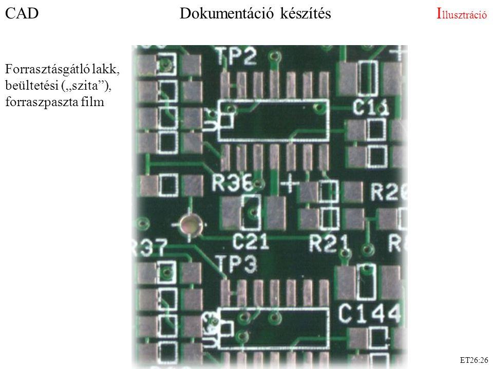 """ET26:26 CAD Dokumentáció készítés I llusztráció Forrasztásgátló lakk, beültetési (""""szita""""), forraszpaszta film"""