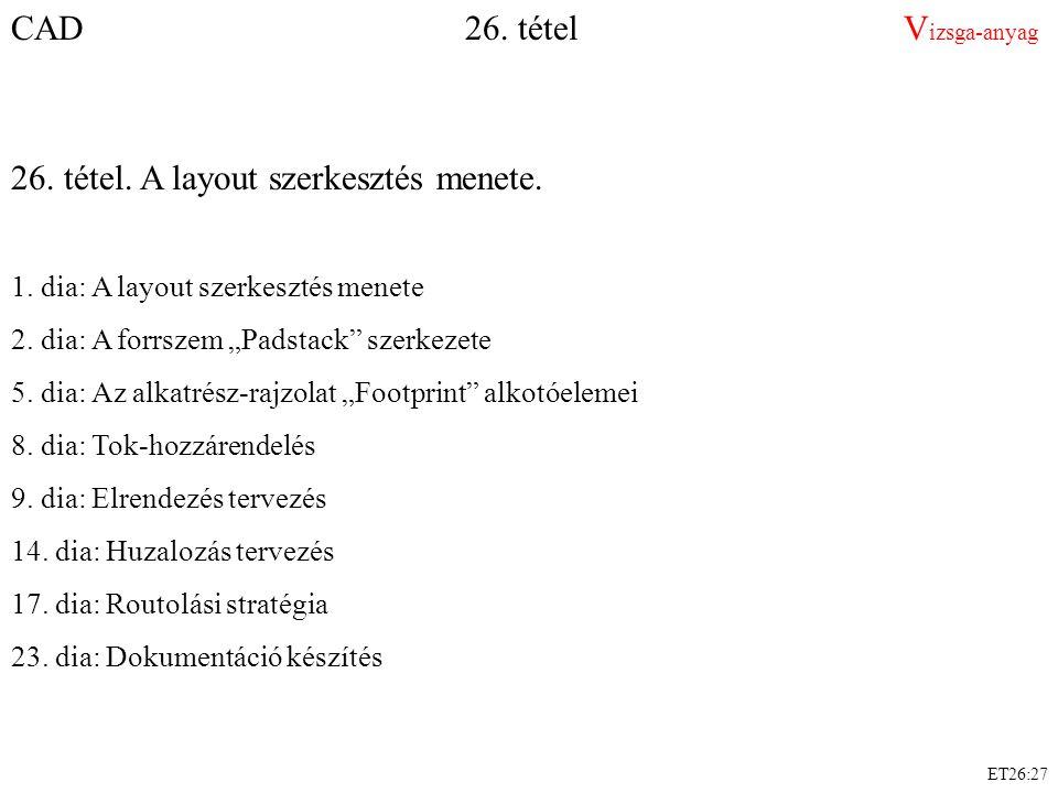 """ET26:27 CAD 26. tétel V izsga-anyag 26. tétel. A layout szerkesztés menete. 1. dia: A layout szerkesztés menete 2. dia: A forrszem """"Padstack"""" szerkeze"""