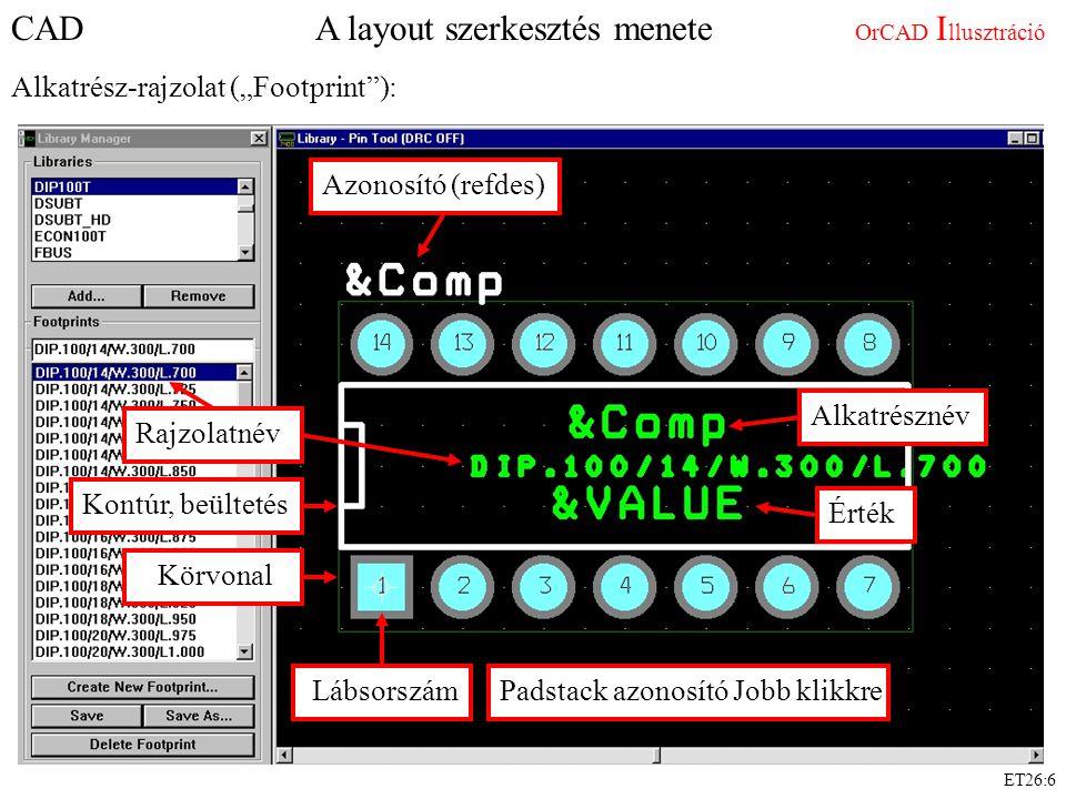 """ET26:6 CAD A layout szerkesztés menete OrCAD I llusztráció Alkatrész-rajzolat (""""Footprint ): Rajzolatnév Lábsorszám Kontúr, beültetés Körvonal Padstack azonosító Jobb klikkre Azonosító (refdes) Alkatrésznév Érték"""
