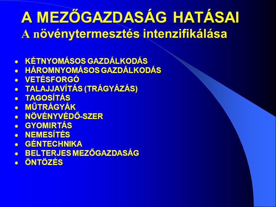 A MEZŐGAZDASÁG HATÁSAI A n övénytermesztés intenzifikálása  KÉTNYOMÁSOS GAZDÁLKODÁS  HÁROMNYOMÁSOS GAZDÁLKODÁS  VETÉSFORGÓ  TALAJJAVÍTÁS (TRÁGYÁZÁS)  TAGOSÍTÁS  MŰTRÁGYÁK  NÖVÉNYVÉDŐ-SZER  GYOMIRTÁS  NEMESÍTÉS  GÉNTECHNIKA  BELTERJES MEZŐGAZDASÁG  ÖNTÖZÉS