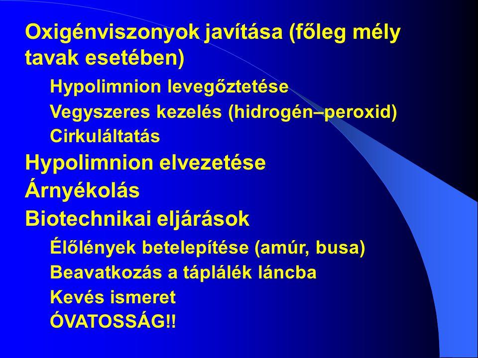 Oxigénviszonyok javítása (főleg mély tavak esetében) Hypolimnion levegőztetése Vegyszeres kezelés (hidrogén–peroxid) Cirkuláltatás Hypolimnion elvezetése Árnyékolás Biotechnikai eljárások Élőlények betelepítése (amúr, busa) Beavatkozás a táplálék láncba Kevés ismeret ÓVATOSSÁG!!