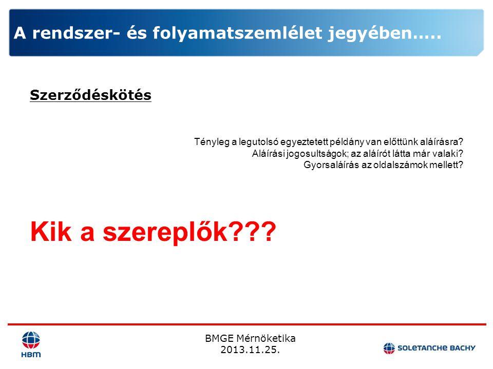 BMGE Mérnöketika 2013.11.25. A rendszer- és folyamatszemlélet jegyében….. Szerződéskötés Tényleg a legutolsó egyeztetett példány van előttünk aláírásr