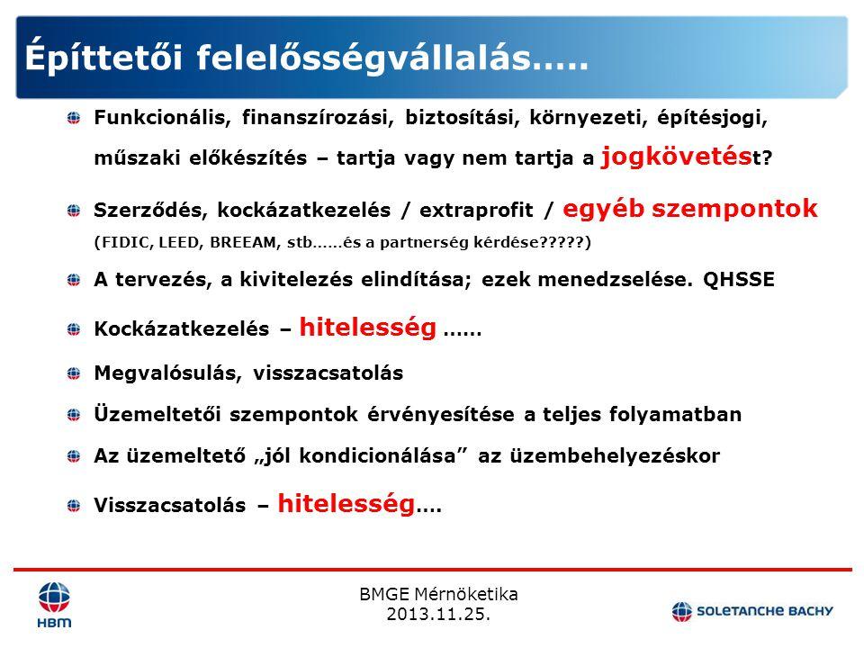 BMGE Mérnöketika 2013.11.25. Funkcionális, finanszírozási, biztosítási, környezeti, építésjogi, műszaki előkészítés – tartja vagy nem tartja a jogköve