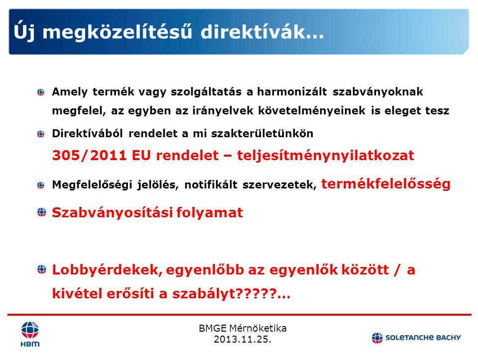 BMGE Mérnöketika 2013.11.25. Amely termék vagy szolgáltatás a harmonizált szabványoknak megfelel, az egyben az irányelvek követelményeinek is eleget t