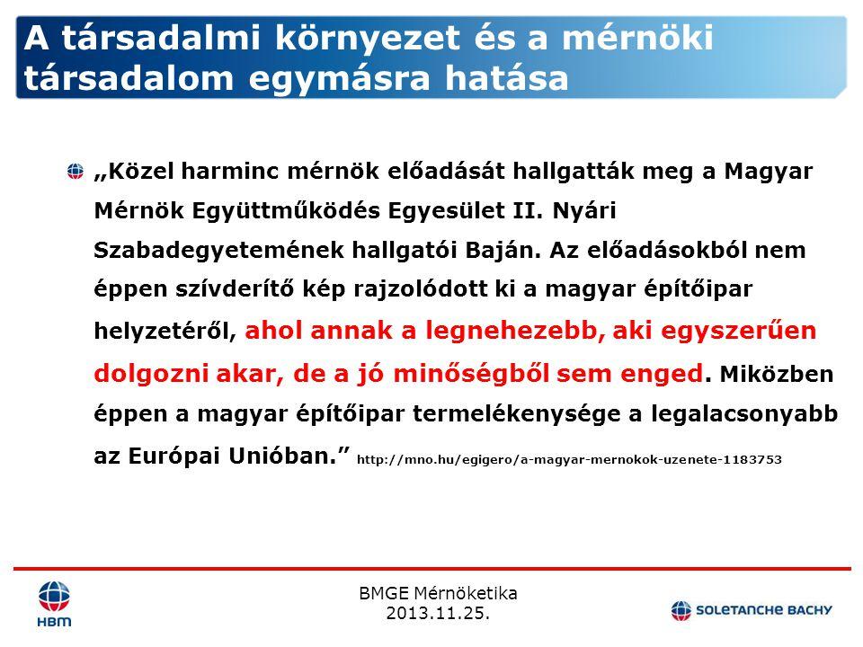 """BMGE Mérnöketika 2013.11.25. """" Közel harminc mérnök előadását hallgatták meg a Magyar Mérnök Együttműködés Egyesület II. Nyári Szabadegyetemének hallg"""