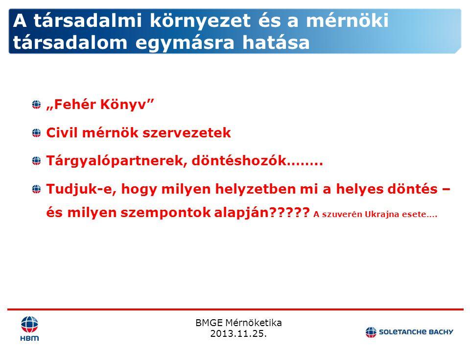 """BMGE Mérnöketika 2013.11.25. """"Fehér Könyv"""" Civil mérnök szervezetek Tárgyalópartnerek, döntéshozók…….. Tudjuk-e, hogy milyen helyzetben mi a helyes dö"""