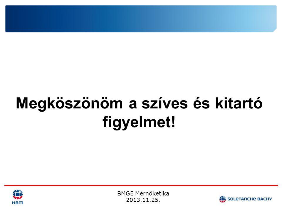 BMGE Mérnöketika 2013.11.25. Megköszönöm a szíves és kitartó figyelmet!