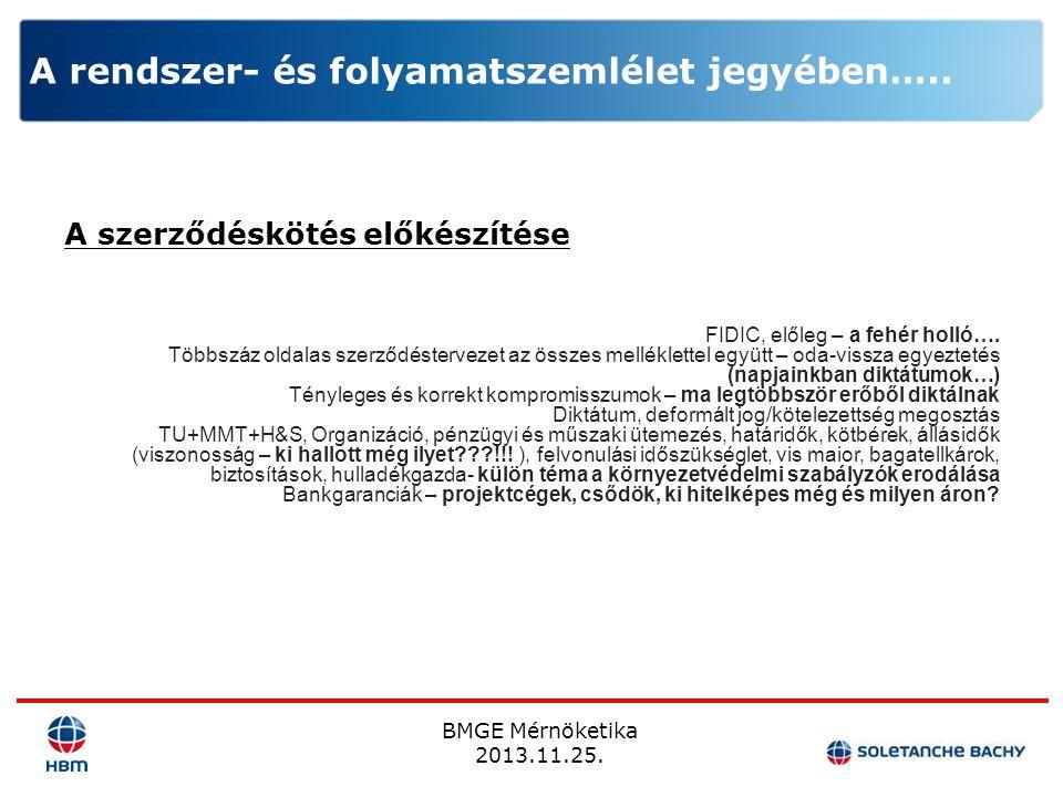 BMGE Mérnöketika 2013.11.25. A rendszer- és folyamatszemlélet jegyében….. A szerződéskötés előkészítése FIDIC, előleg – a fehér holló…. Többszáz oldal