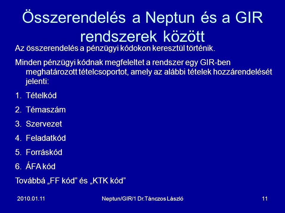 2010.01.11Neptun/GIR/1 Dr.Tánczos László11 Összerendelés a Neptun és a GIR rendszerek között Az összerendelés a pénzügyi kódokon keresztül történik.