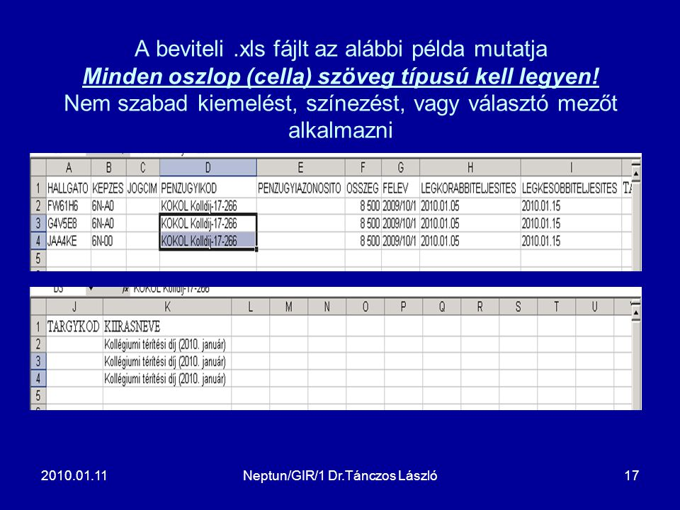 2010.01.11Neptun/GIR/1 Dr.Tánczos László17 A beviteli.xls fájlt az alábbi példa mutatja Minden oszlop (cella) szöveg típusú kell legyen! Nem szabad ki