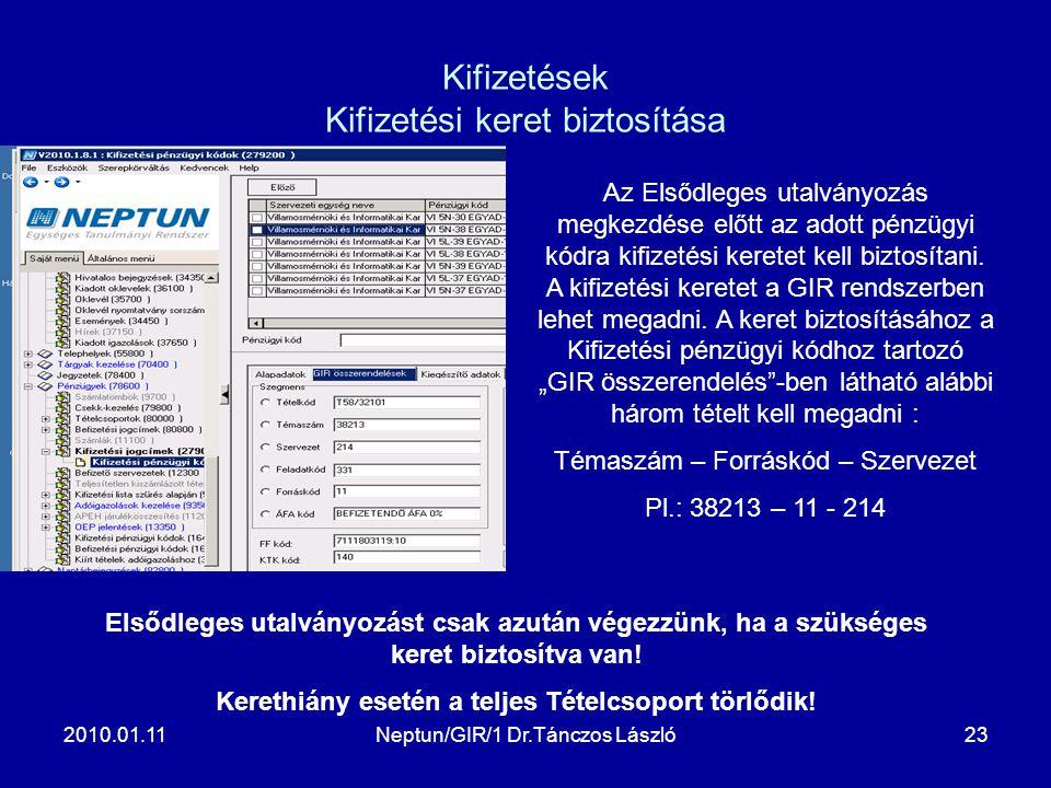 2010.01.11Neptun/GIR/1 Dr.Tánczos László23 Kifizetések Kifizetési keret biztosítása Az Elsődleges utalványozás megkezdése előtt az adott pénzügyi kódra kifizetési keretet kell biztosítani.