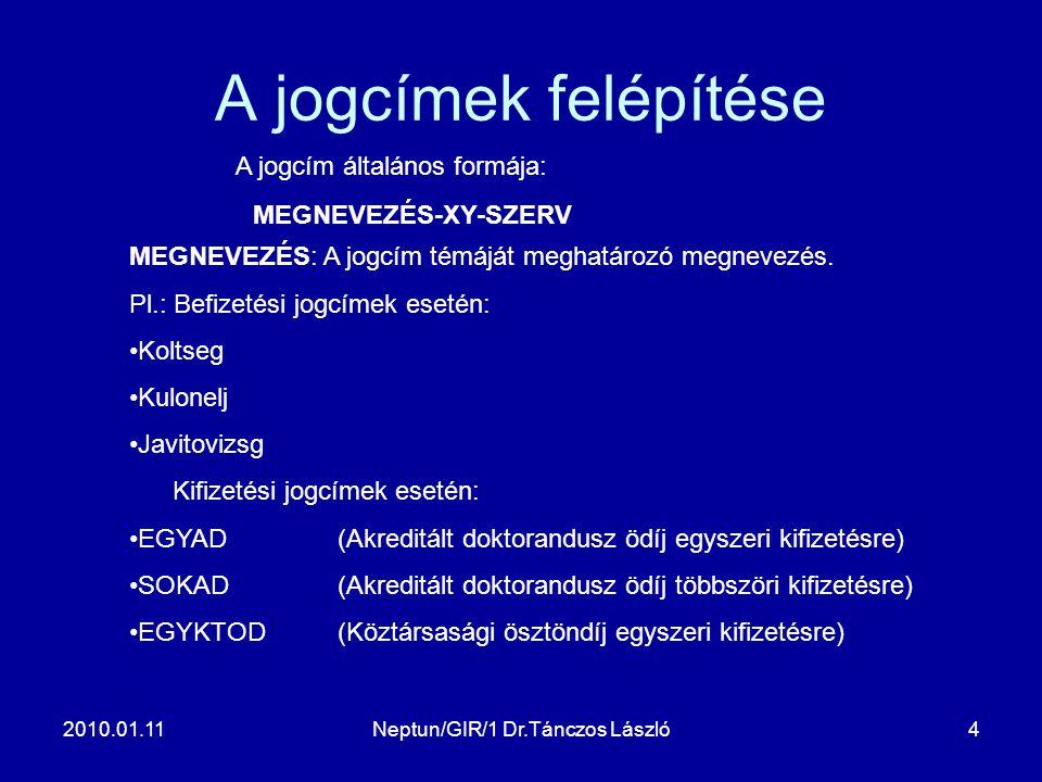2010.01.11Neptun/GIR/1 Dr.Tánczos László4 A jogcímek felépítése A jogcím általános formája: MEGNEVEZÉS-XY-SZERV MEGNEVEZÉS: A jogcím témáját meghatározó megnevezés.