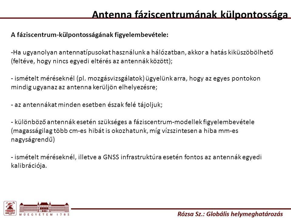 A fáziscentrum-külpontosságának figyelembevétele: -Ha ugyanolyan antennatípusokat használunk a hálózatban, akkor a hatás kiküszöbölhető (feltéve, hogy