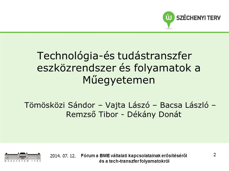 Fórum a BME vállalati kapcsolatainak erősítéséről és a tech-transzfer folyamatokról 2014. 07. 12. 2 Technológia-és tudástranszfer eszközrendszer és fo