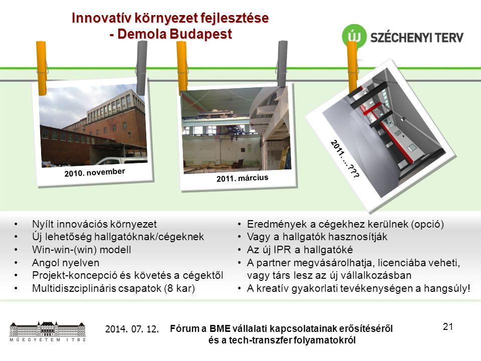 Fórum a BME vállalati kapcsolatainak erősítéséről és a tech-transzfer folyamatokról 2014. 07. 12. 21 Innovatív környezet fejlesztése - Demola Budapest