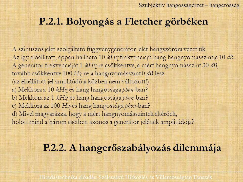 P.2.1. Bolyongás a Fletcher görbéken Híradástechnika előadás; Szélessávú Hírközlés és Villamosságtan Tanszék Szubjektív hangosságérzet – hangerősség A