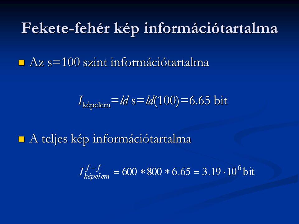 Fekete-fehér kép információtartalma Az s=100 szint információtartalma Az s=100 szint információtartalma I képelem =ld s=ld(100)=6.65 bit A teljes kép