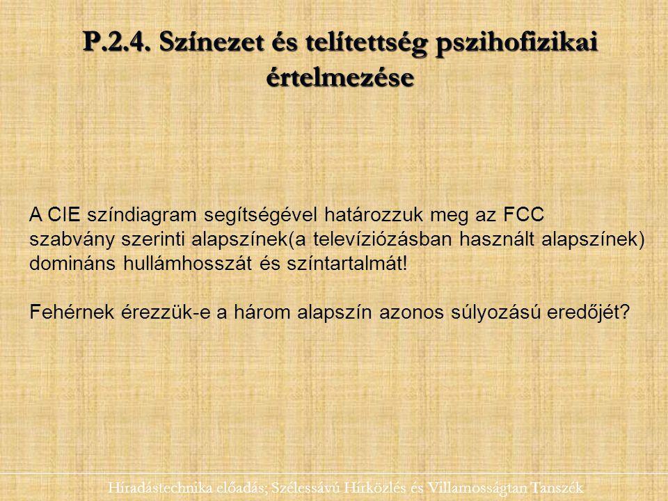 P.2.4. Színezet és telítettség pszihofizikai értelmezése Híradástechnika előadás; Szélessávú Hírközlés és Villamosságtan Tanszék A CIE színdiagram seg