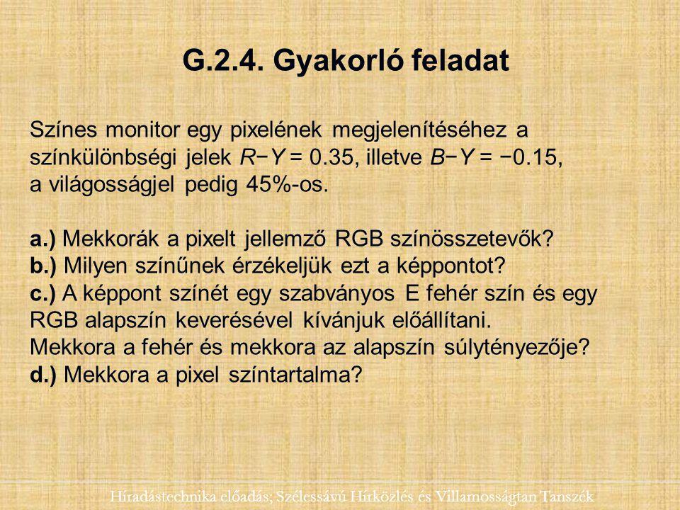 G.2.4. Gyakorló feladat Híradástechnika előadás; Szélessávú Hírközlés és Villamosságtan Tanszék Színes monitor egy pixelének megjelenítéséhez a színkü