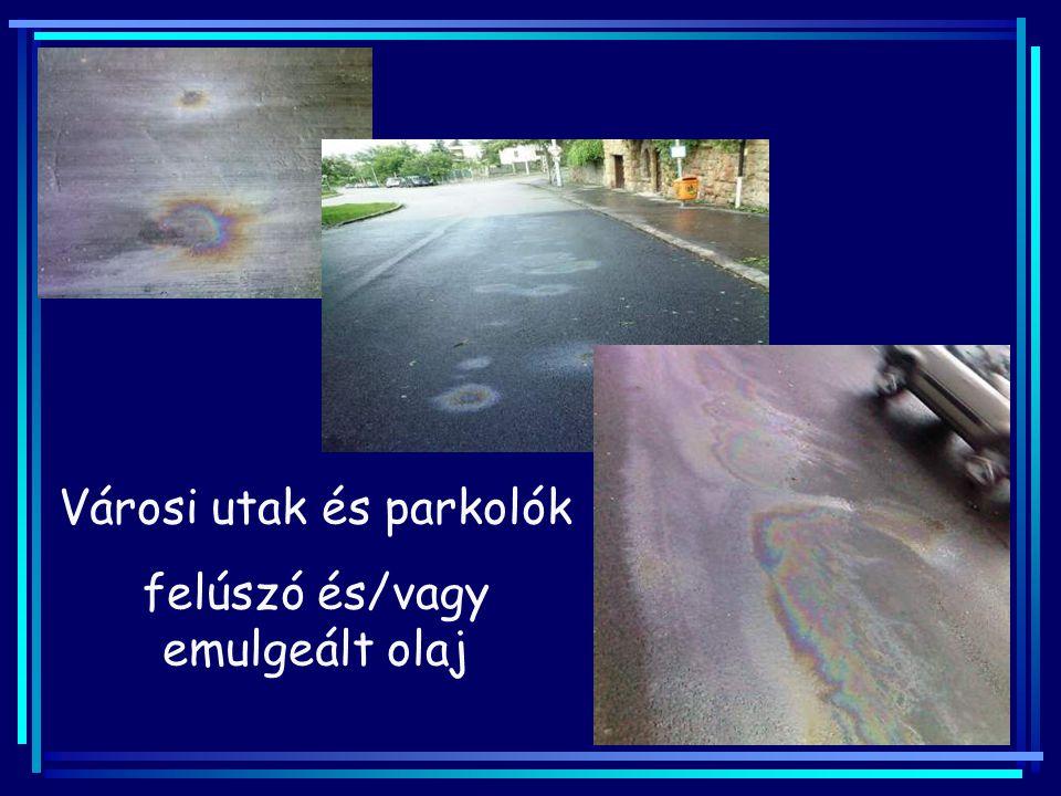 Városi utak és parkolók felúszó és/vagy emulgeált olaj