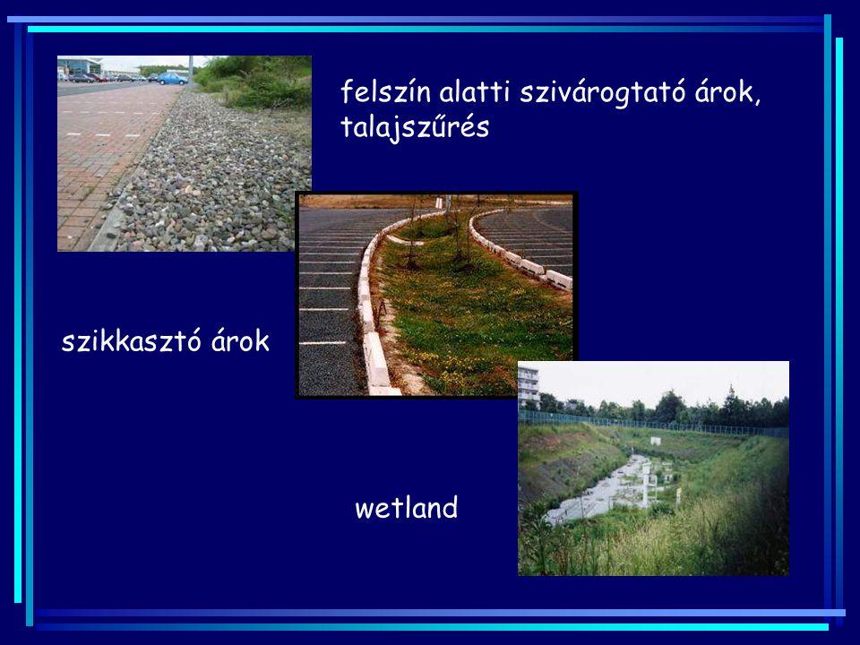 felszín alatti szivárogtató árok, talajszűrés szikkasztó árok wetland