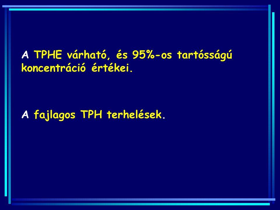 A TPHE várható, és 95%-os tartósságú koncentráció értékei. A fajlagos TPH terhelések.