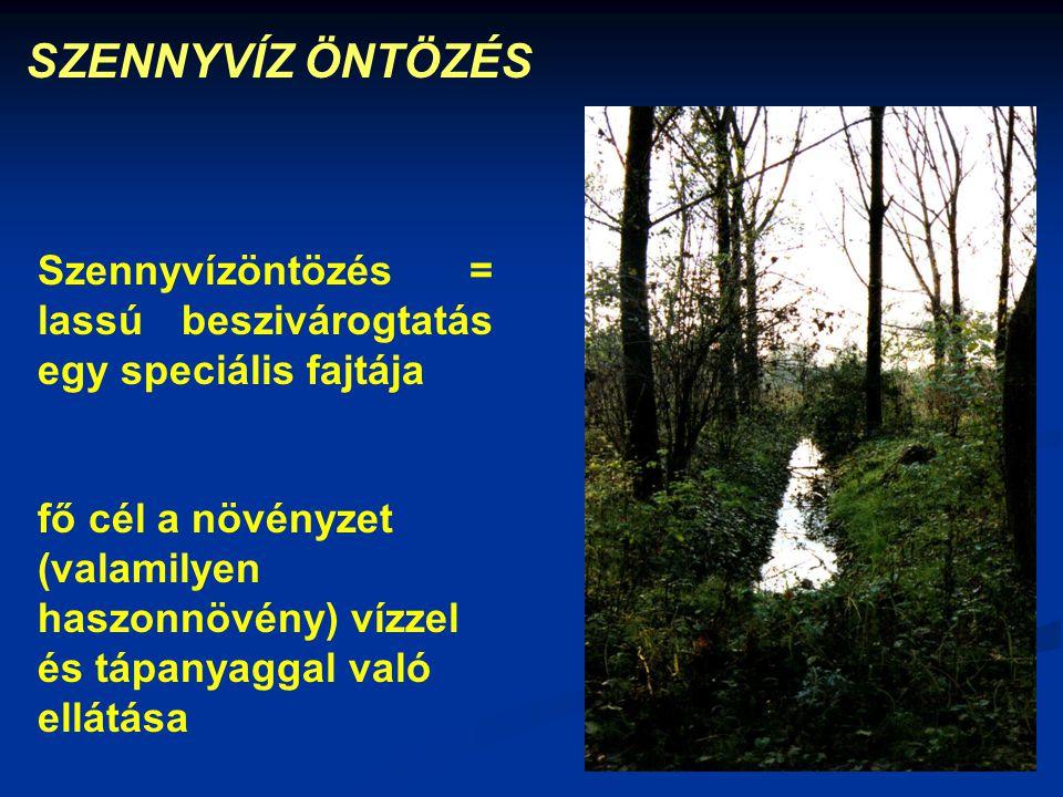 SZENNYVÍZ ÖNTÖZÉS Szennyvízöntözés = lassú beszivárogtatás egy speciális fajtája fő cél a növényzet (valamilyen haszonnövény) vízzel és tápanyaggal va