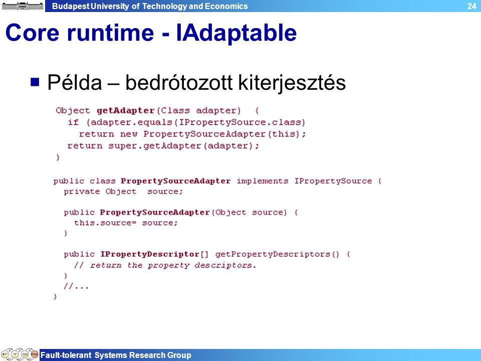 Budapest University of Technology and Economics Fault-tolerant Systems Research Group 24 Core runtime - IAdaptable  Példa – bedrótozott kiterjesztés