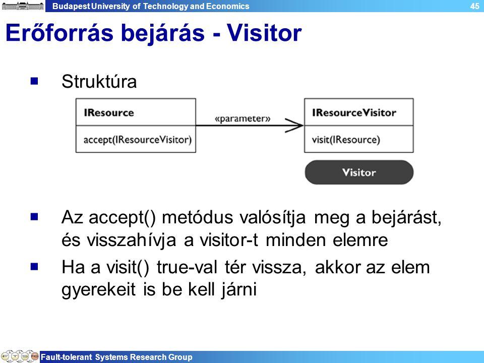 Budapest University of Technology and Economics Fault-tolerant Systems Research Group 45 Erőforrás bejárás - Visitor  Struktúra  Az accept() metódus