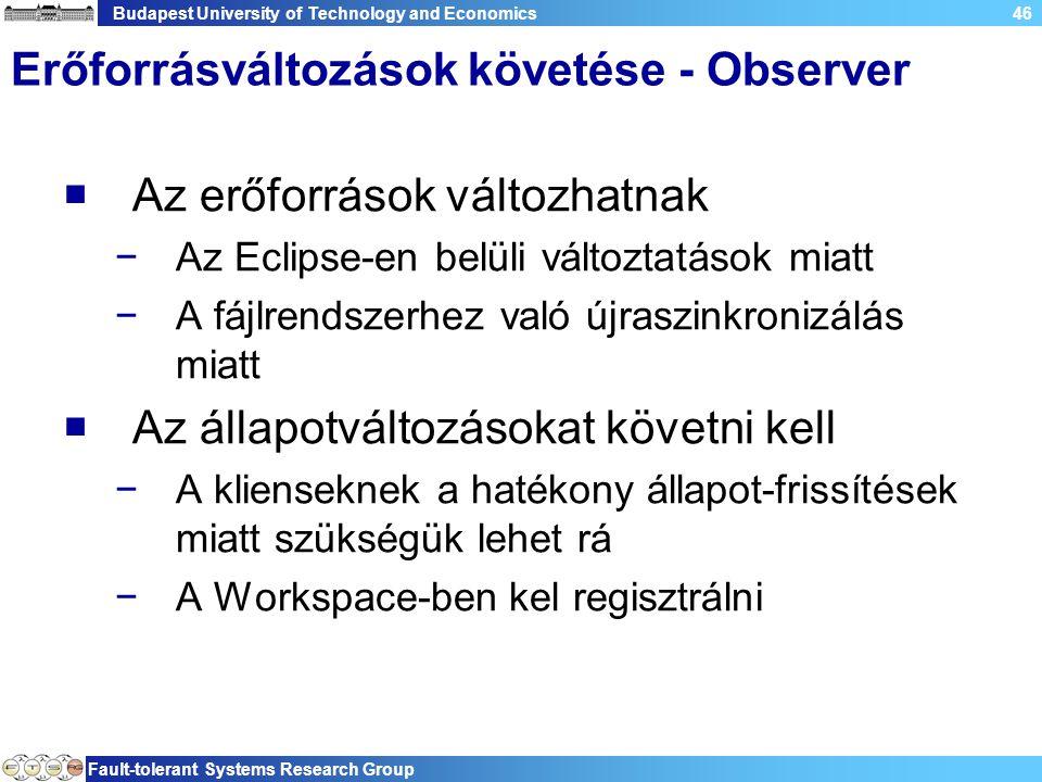 Budapest University of Technology and Economics Fault-tolerant Systems Research Group 46 Erőforrásváltozások követése - Observer  Az erőforrások vált