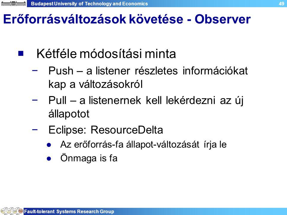 Budapest University of Technology and Economics Fault-tolerant Systems Research Group 49 Erőforrásváltozások követése - Observer  Kétféle módosítási