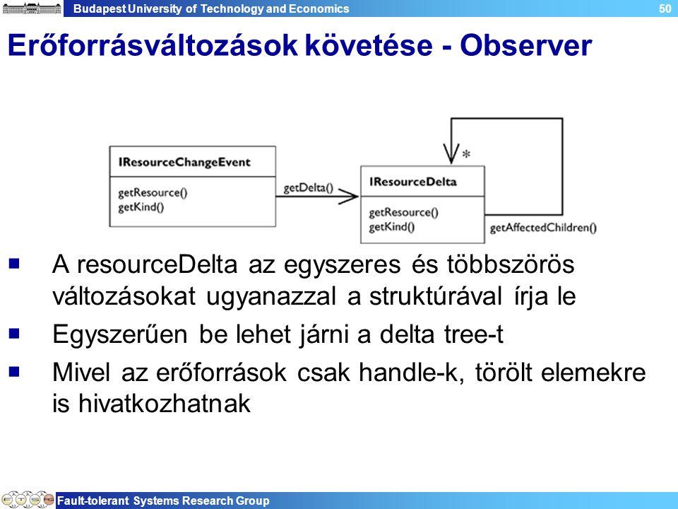 Budapest University of Technology and Economics Fault-tolerant Systems Research Group 50 Erőforrásváltozások követése - Observer  A resourceDelta az
