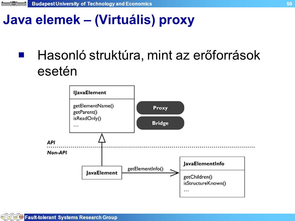 Budapest University of Technology and Economics Fault-tolerant Systems Research Group 56 Java elemek – (Virtuális) proxy  Hasonló struktúra, mint az erőforrások esetén