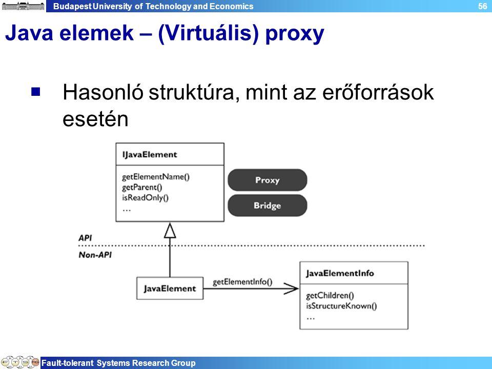 Budapest University of Technology and Economics Fault-tolerant Systems Research Group 56 Java elemek – (Virtuális) proxy  Hasonló struktúra, mint az