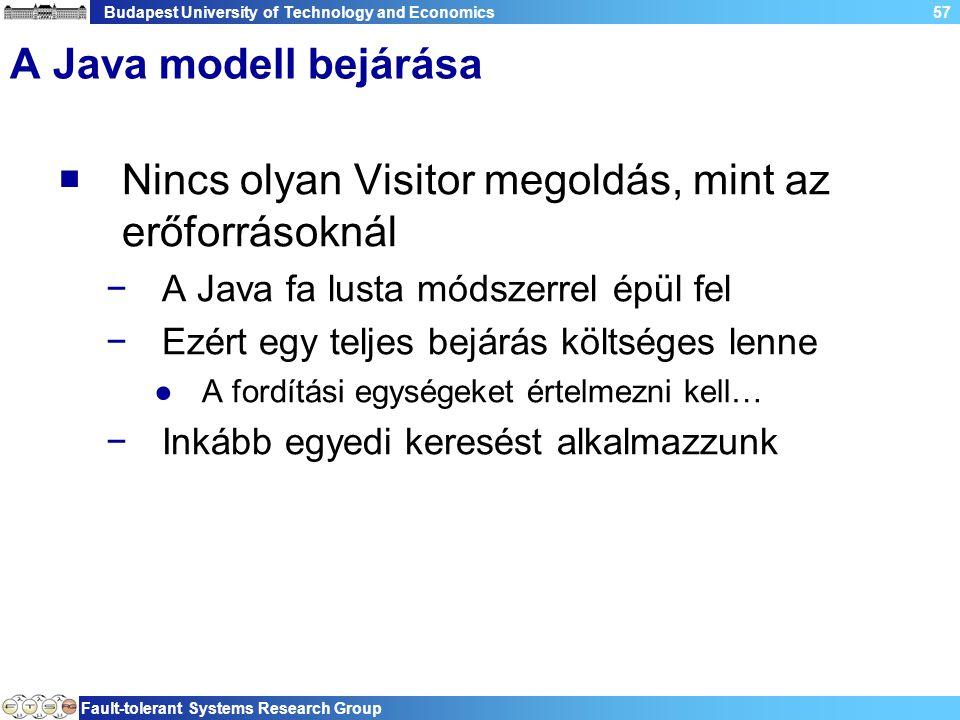 Budapest University of Technology and Economics Fault-tolerant Systems Research Group 57 A Java modell bejárása  Nincs olyan Visitor megoldás, mint a