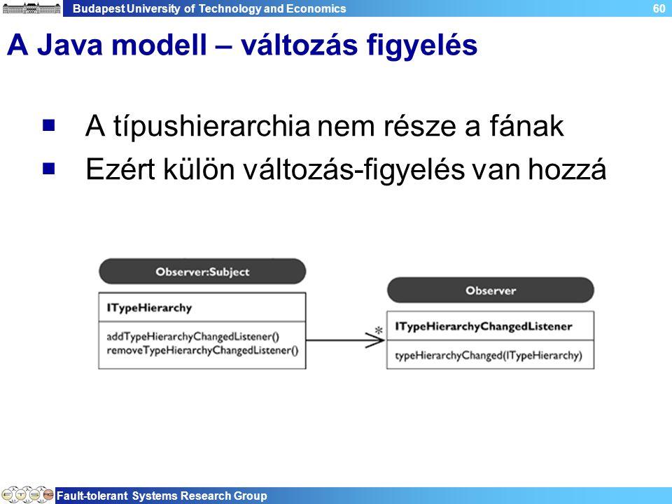 Budapest University of Technology and Economics Fault-tolerant Systems Research Group 60 A Java modell – változás figyelés  A típushierarchia nem rés