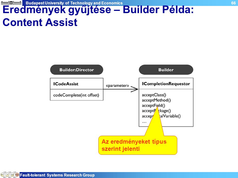 Budapest University of Technology and Economics Fault-tolerant Systems Research Group 66 Eredmények gyűjtése – Builder Példa: Content Assist Az eredményeket típus szerint jelenti