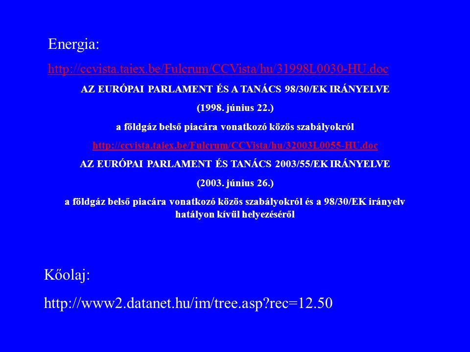 Energia: http://ccvista.taiex.be/Fulcrum/CCVista/hu/31998L0030-HU.doc AZ EURÓPAI PARLAMENT ÉS A TANÁCS 98/30/EK IRÁNYELVE (1998. június 22.) a földgáz