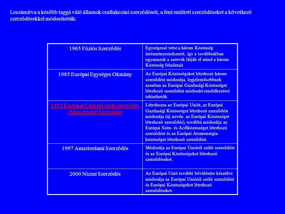 Leszámítva a később taggá váló államok csatlakozási szerződéseit, a fent említett szerződéseket a következő szerződésekkel módosították: 1965 Fúziós S
