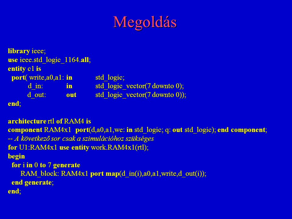 Megoldás library ieee; use ieee.std_logic_1164.all; entity c1 is port( write,a0,a1:instd_logic; port( write,a0,a1:instd_logic; d_in:instd_logic_vector(7 downto 0); d_in:instd_logic_vector(7 downto 0); d_out:outstd_logic_vector(7 downto 0)); end; architecture rtl of RAM4 is component RAM4x1 port(d,a0,a1,we: in std_logic; q: out std_logic); end component; -- A következő sor csak a szimulációhoz szükséges for U1:RAM4x1 use entity work.RAM4x1(rtl); begin for i in 0 to 7 generate for i in 0 to 7 generate RAM_block: RAM4x1 port map(d_in(i),a0,a1,write,d_out(i)); RAM_block: RAM4x1 port map(d_in(i),a0,a1,write,d_out(i)); end generate; end generate; end;
