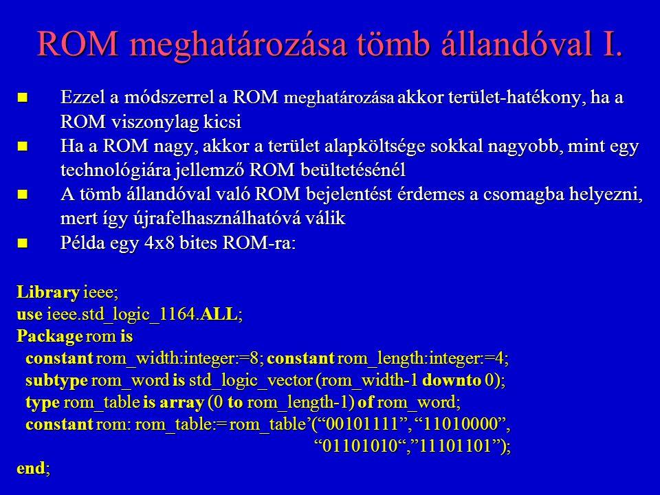 ROM meghatározása tömb állandóval I.