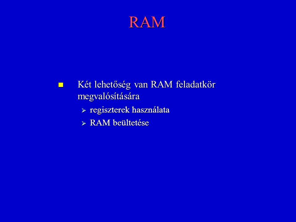 RAM Két lehetőség van RAM feladatkör megvalósítására Két lehetőség van RAM feladatkör megvalósítására  regiszterek használata  RAM beültetése